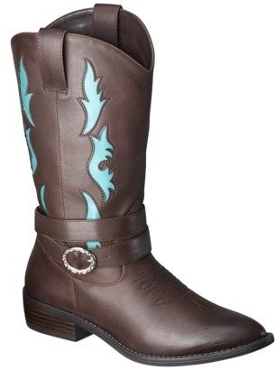 Xhilaration Women's Savanna Tall Cowboy Boot with Buckle - Brown/Turquoise