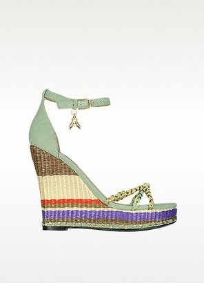 Patrizia Pepe Suede Sandals With Striped Wedge