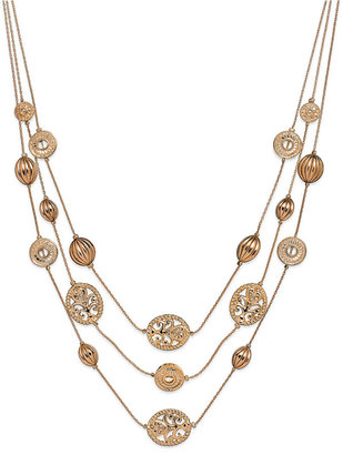 Style&co. Necklace, Gold-Tone 3 Row Filigree Illusion Necklace
