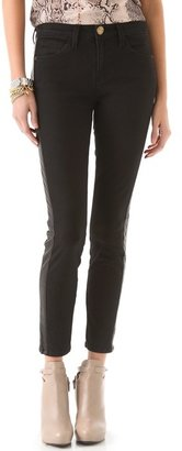 Current/Elliott High Waist Ankle Skinny with Leather Inserts