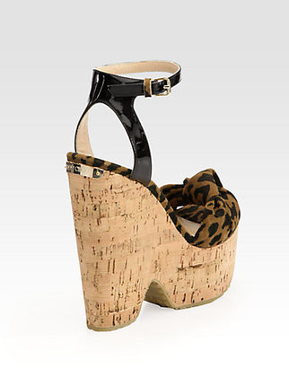 Jimmy Choo Gleam Leopard-Print Suede Cork Wedge Sandals