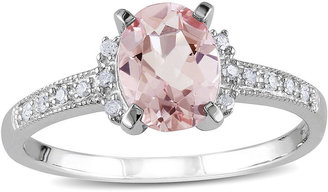 FINE JEWELRY Genuine Morganite and Diamond-Accent Sterling Silver Ring $312.48 thestylecure.com