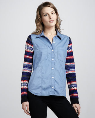 Free People Louis Knit-Sleeve Oxford Shirt