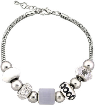 JCPenney DAZZLING DESIGNS Dazzling Designs Clear & White Bead Silver-Plated Cube Bracelet