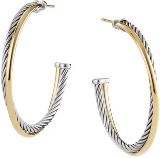 Crossover Extra-Large Hoop Earrings with Gold