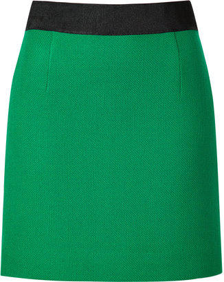 Milly Wool Pencil Mini Skirt in Emerald