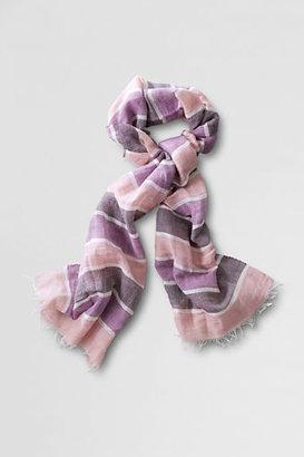 Lands' End Women's Stripe Cotton Linen Baby Fringe Scarf