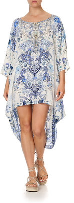 Camilla Scoop-Neck High-Low Paisley-Print Kaftan