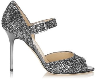 Jimmy Choo Lace Coarse Glitter Fabric Peep Toe Sandals