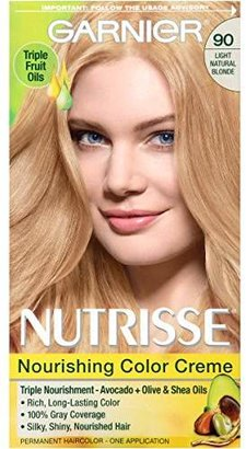 Garnier Nutrisse Nourishing Color Creme, 90 Light Natural Blonde (Macadamia) (Packaging May Vary) $7.99 thestylecure.com