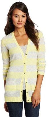 Magaschoni Women's 100% Cashmere Striped Cardigan Sweater