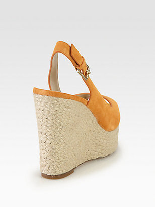 KORS Keelyn Suede Raffia Wedge Sandals