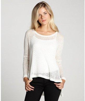 LnA ivory open knit 'Reyes' scoop neck long sleeve top