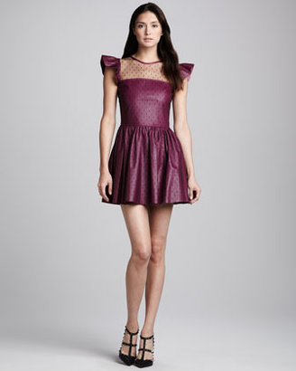 RED Valentino Point d'Esprit & Napa Leather Dress, Raspberry