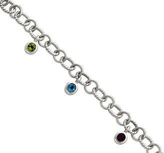 Sterling Multi-Gemstone Twisted Link Dangle Bracelet