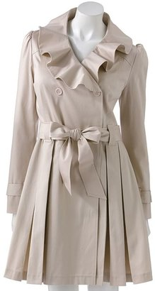 Elle TM ruffle pleated trench coat