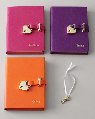 Graphic Image Saffiano Leather Lock Diary