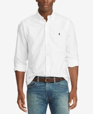 Polo Ralph Lauren Men's Big and Tall Classic Fit Garment-Dyed Long-Sleeve Oxford Shirt