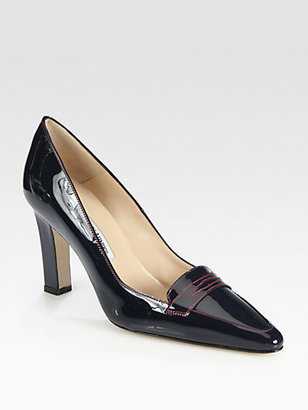 Manolo Blahnik Patent Leather Loafer Pumps