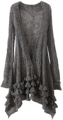 Newport News Ruffled Open-Stitch Cardigan in a Fuzzy Mohair Blend