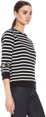 A.P.C. Striped Cotton Pullover in Black & White