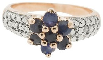 Diamond 0.01 CT.T.W. Accent and Round-Cut Sapphire Prong Set Flower Ring Silver Plated (Size 7)