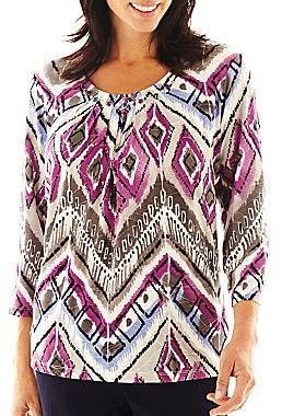 Alfred Dunner Sweet Temptations Diamond Zigzag Knit Top