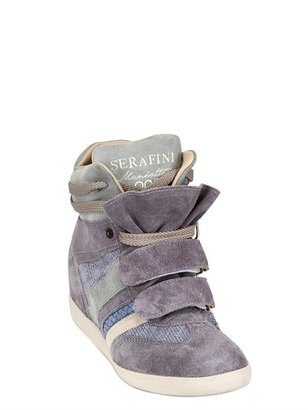 Serafini 70mm Python Embossed Suede Sneakers