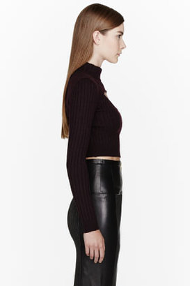 Carven Purple ribbed Cropped cut-out Turtleneck