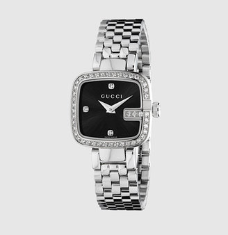 Gucci G Stainless Steel Watch With Diamonds