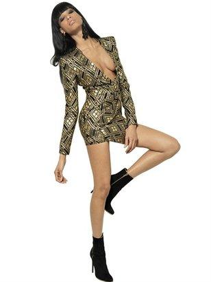Balmain Lurex And Silk Twill Jacquard Dress