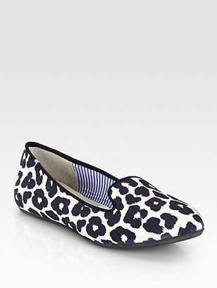 Charles Philip Shanghai Sheila Jaguar-Print Satin Smoking Slippers
