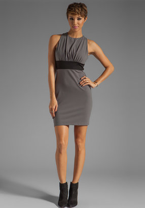 Susana Monaco Crew Two Tone Dress in Cement/Black