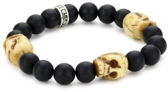 King Baby Studio Men's 10mm Black Onyx Bead Bracelet with 3 Bone Skulls