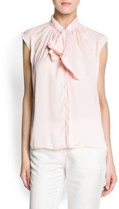 MANGO Bow crepe blouse