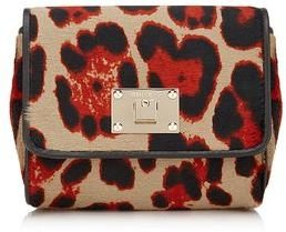 Jimmy Choo Ruby Leopard Print Pony Clutch Bag with Chain Shoulder Strap
