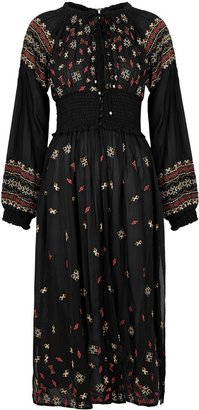 Free People Mykonos Black Embroidered Maxi Top