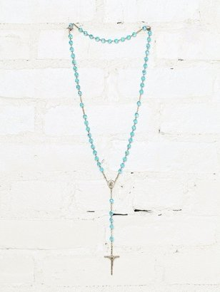 Free People Vintage Blue Beaded Rosary Necklace