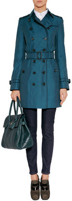 Burberry Pale Petrol Blue Cotton Gabardine Courtdale Trench