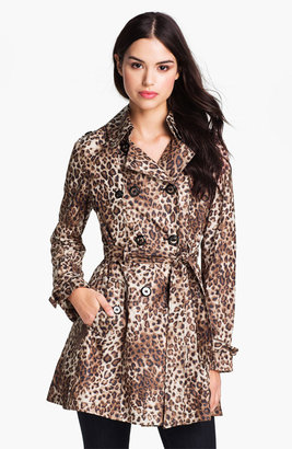 Betsey Johnson Lace-Up Back Print Trench Coat