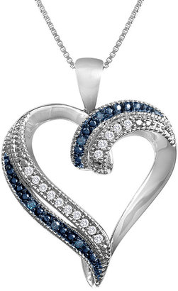 FINE JEWELRY 1/10 CT. T.W. Genuine White & Color-Enhanced Blue Diamond Heart Pendant Necklace $124.98 thestylecure.com