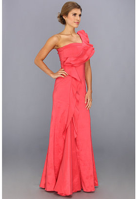 Jessica Simpson One Shoulder Ruffle Gown