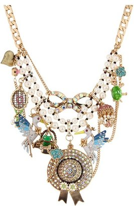 Betsey Johnson Walk in the Park Pelican Hat Frontal Necklace (Multi) - Jewelry