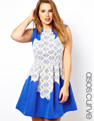 Asos Exclusive Skater Dress With Lace