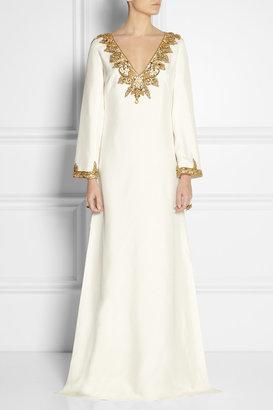 Marchesa Embellished silk-shantung kaftan-style gown