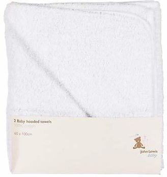 John Lewis & Partners Hooded Towels, Pack of 2, White