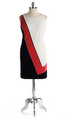 Tahari Plus-Size Asymmetrical Colorblock Dress