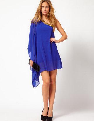 Rare Chiffon Asymmetric Dress With Embellishment