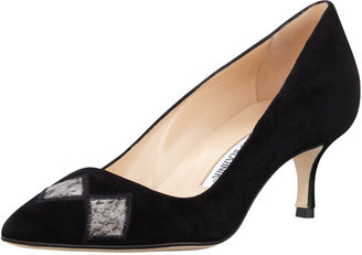 Manolo Blahnik Pila Suede Diamond-Snake Pump, Black