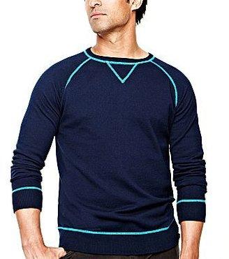 JCPenney jcpTM Contrast-Stitch Cotton/Cashmere Sweater